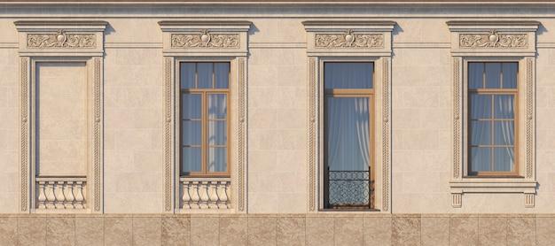 Encadrement des fenêtres de style classique sur la pierre. rendu 3d. Photo Premium