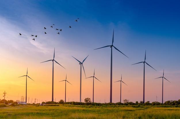 Énergie éolienne production d'énergie verte écologique. Photo Premium
