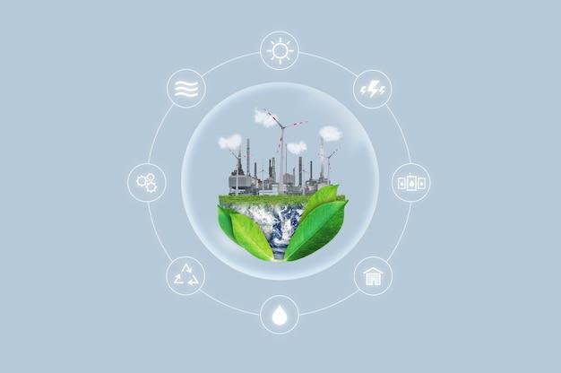 Énergie Propre, Concept De Ressources Industrielles Et Naturelles Respectueuses De L'environnement. Photo Premium
