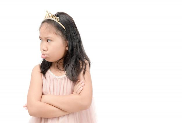 Enfant asiatique se sentir fatigué ou s'ennuyer isolé sur blanc Photo Premium