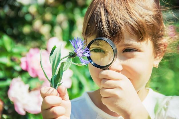 L'enfant Regarde à La Loupe. Augmenter. Mise Au Point Sélective. Photo Premium