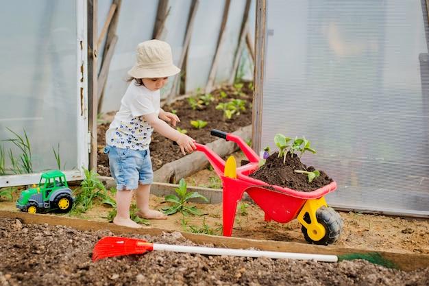 Enfant à la serre avec une brouette et des plants Photo Premium
