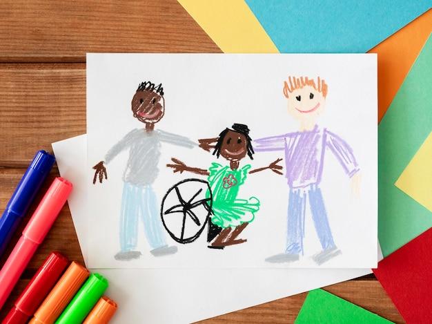 Enfants Et Amis Handicapés Dessinés à La Main Photo gratuit