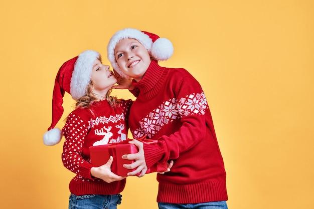 Enfants mignons avec des chapeaux de père noël Photo Premium