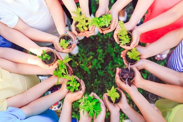 Enfants Tenant Des Plantes Dans Des Pots De Fleurs Photo Premium