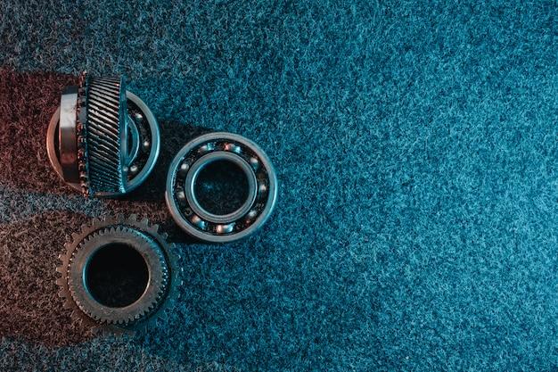 Engrenages et roulements sur dark Photo Premium