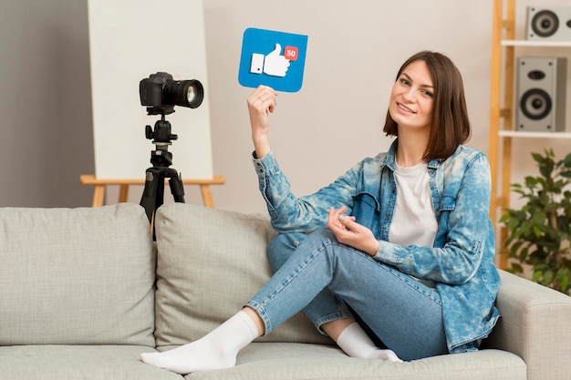 Enregistrement De Belle Femme Pour Blog Personnel Photo gratuit
