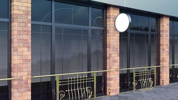 Enseigne en acier lightbox shop forme ronde logo affichage rendu 3d Photo Premium