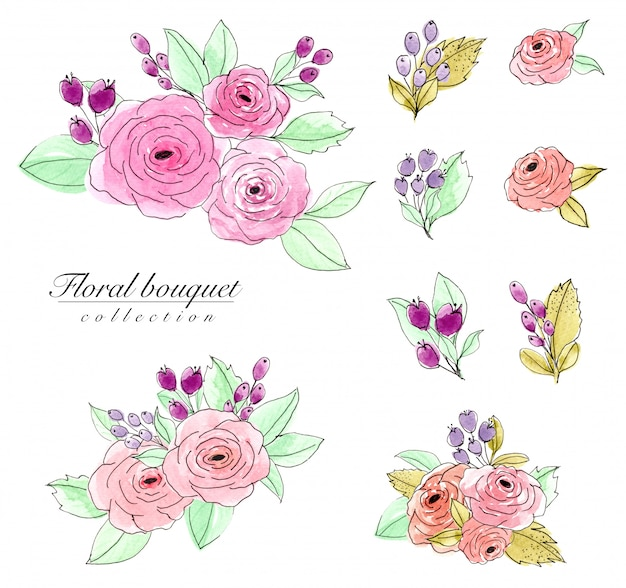 Ensemble d'aquarelle de bouquet de fleurs Photo Premium