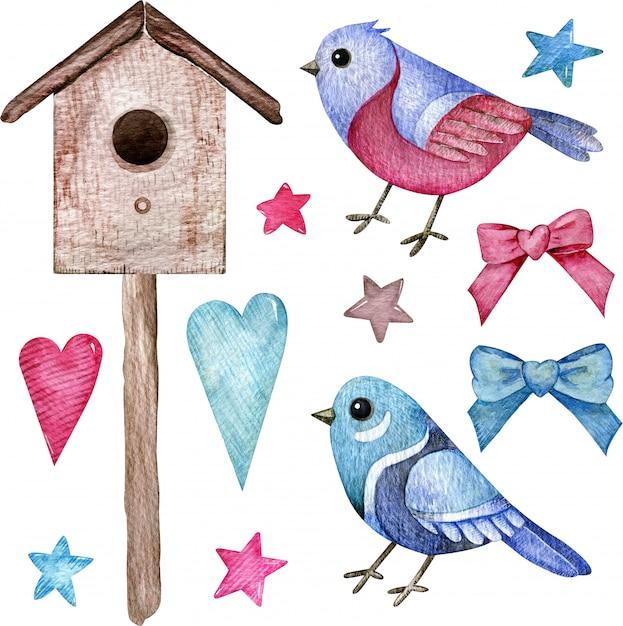 Ensemble Aquarelle D'oiseaux Roses Et Bleus Avec Un Nichoir, Des Coeurs, Des étoiles Et Des Arcs. Clipart Dessiné à La Main. Photo Premium