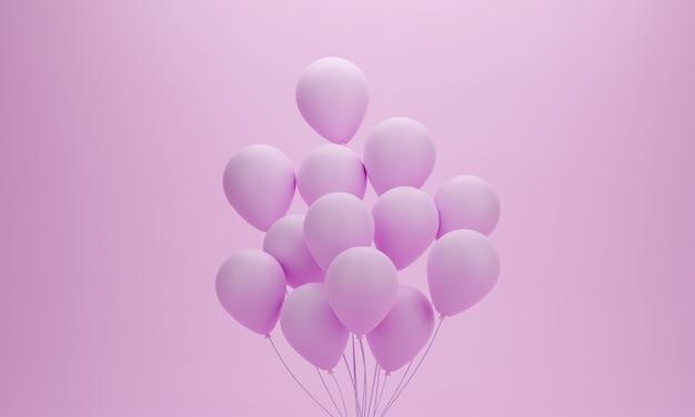 Ensemble De Ballons Sur Fond Pastel Rose Pour Anniversaire, Fête, Promotion Ou Moment Spécial. Rendu 3d Photo Premium