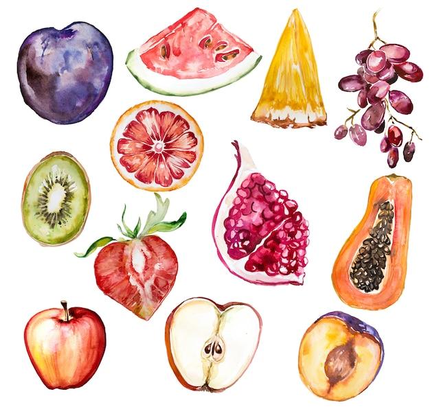 Ensemble De Clipart Aquarelle Fruits Peints A La Main Isole Sur Blanc Illustration D Une Alimentation Saine Photo Premium