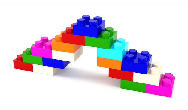 Ensemble de concepteur de pièces en plastique multicolores isolé sur fond blanc. illustration 3d Photo Premium