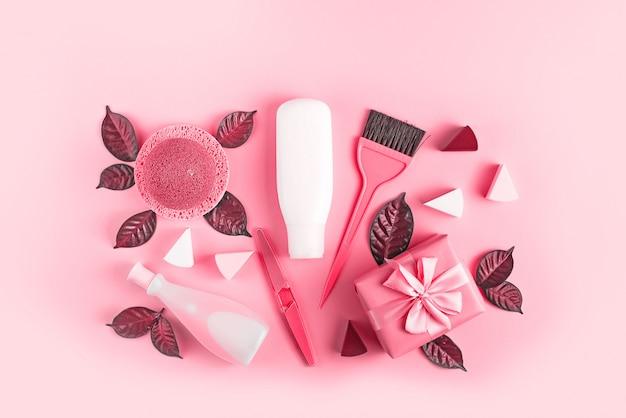 Ensemble de cosmétiques pour le corps, corail image tonique Photo Premium
