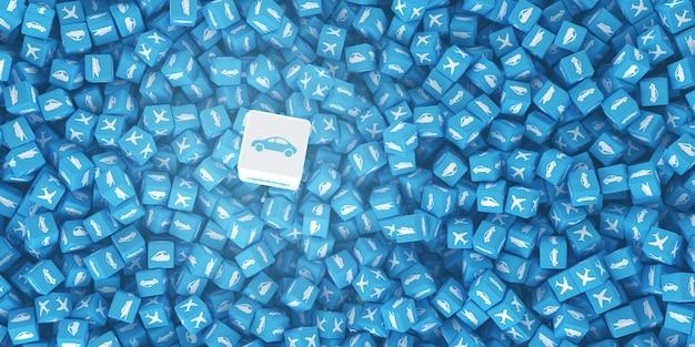 Ensemble de cubes avec des logos de véhicules dessinés sur eux Photo Premium