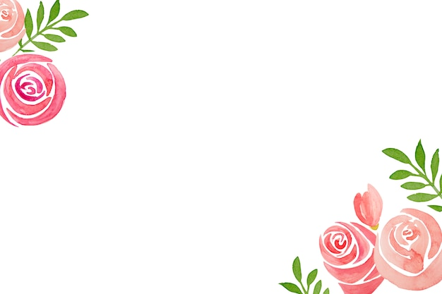 Ensemble dessiné à la main du cadre de fleurs rose rose, sur fond blanc. Photo Premium