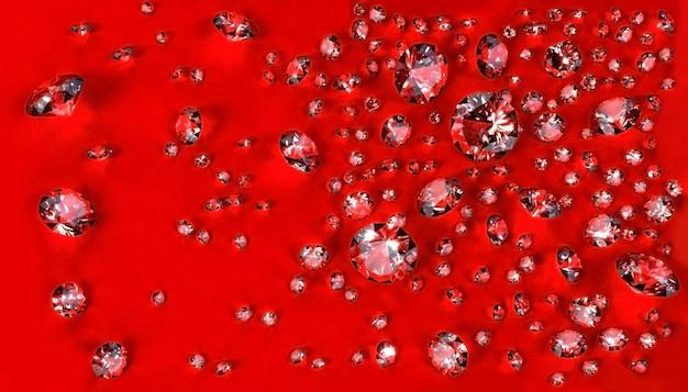 Ensemble de diamants dispersés sur la surface rouge. illustration 3d Photo Premium