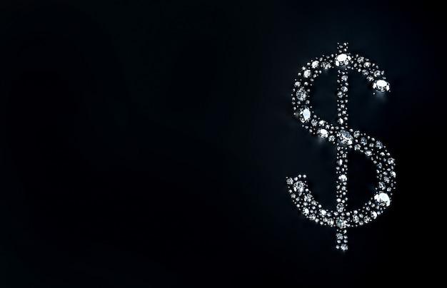 Ensemble de diamants se trouvant sous la forme d'un signe dollar sur la surface. illustration 3d Photo Premium
