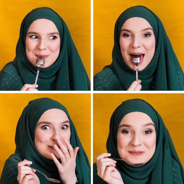 Ensemble d'expression de visage de femme musulmane blanc manger avec une cuillère Photo gratuit