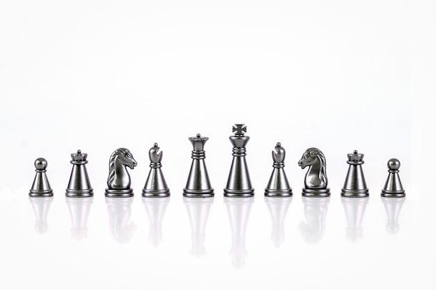 Ensemble de figures d'échecs isolé sur fond blanc Photo Premium