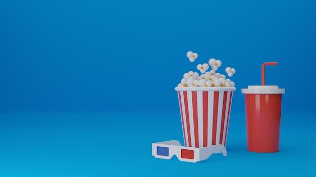 Ensemble De Film. Pop-corn, Lunettes 3d Avec Gobelet Jetable Pour Boissons Isolées. Concept Cinéma Théâtre. Illustration De Rendu 3d. Photo Premium