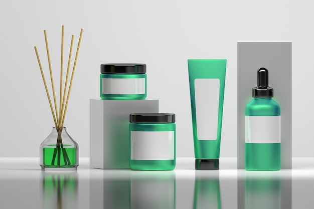 Ensemble de flacons cosmétiques en pur vert et blanc avec diffuseur de parfum maison vitreux. Photo Premium