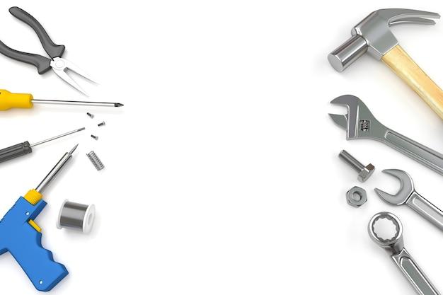 Ensemble d'outils sur fond blanc Photo Premium