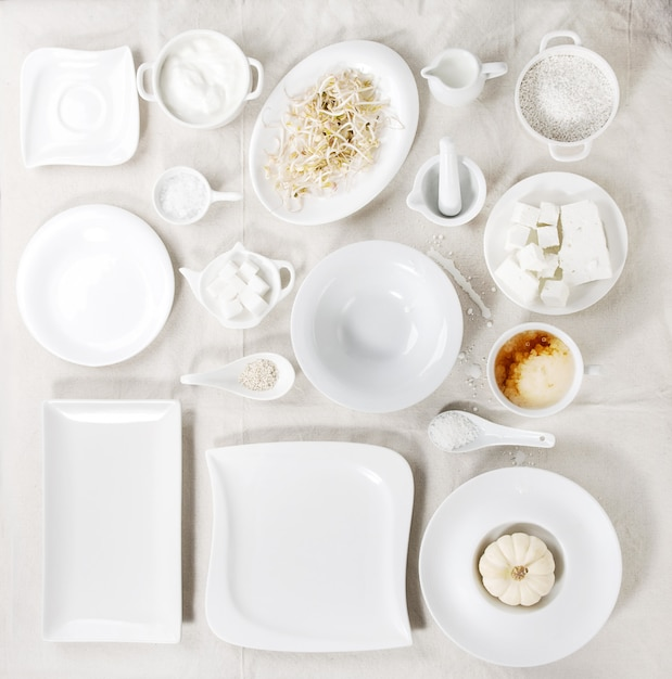 Ensemble de plaques blanches Photo Premium