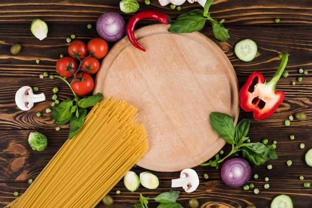 Ensemble De Produits De Cuisine Spaghetti, Vue De Dessus, Espace Libre Photo Premium