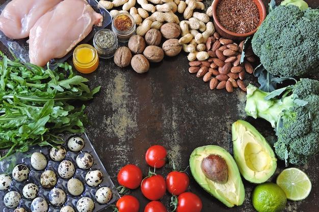 Un ensemble de produits sains pour les aliments diététiques Photo Premium