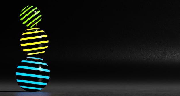 Un ensemble de sphères colorées abstraites sur un fond sombre. rendu 3d. Photo Premium
