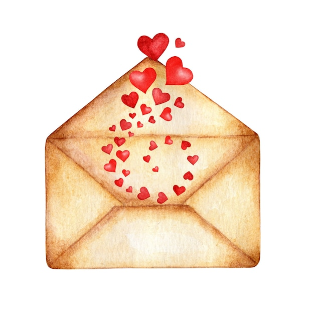 Enveloppe Aquarelle D'où Les Coeurs S'envolent Dans Un Tourbillon. Photo Premium
