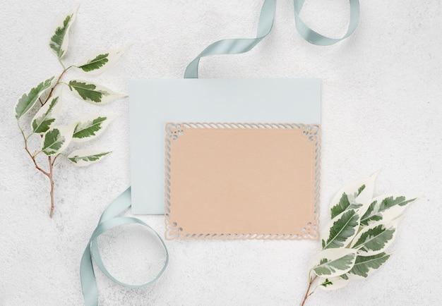Enveloppe De Carte D'invitation De Mariage Vue De Dessus Photo gratuit