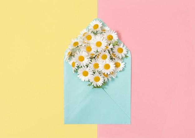 Enveloppe De Fleurs De Camomille Daisy Blooms Rose Papier Jaune Photo Premium