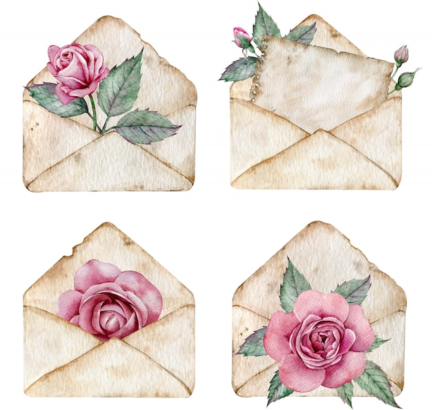 Enveloppes Brunes Vintage Avec Roses Roses Et Feuilles Vertes. Illustration Aquarelle De Lettres. Photo Premium