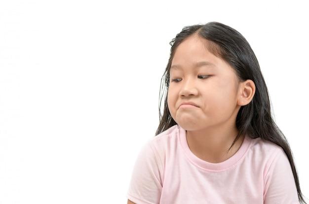Envie D'expression Du Visage Fille Asiatique Asiatique, Jaloux Isolé Photo Premium