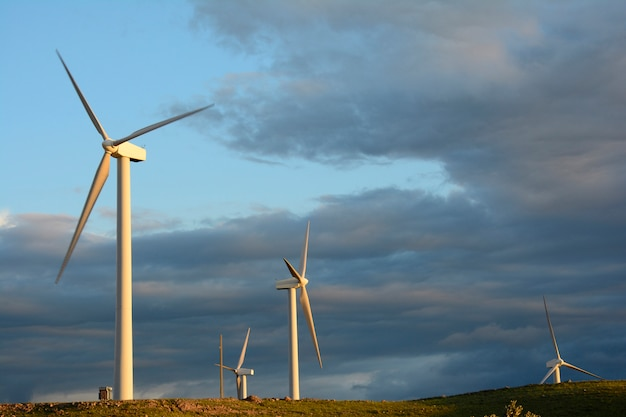 Éoliennes éoliennes ferme à la lumière dorée en face de ciel nuageux Photo Premium