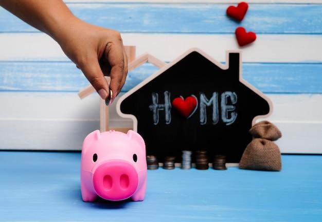 Épargne vente immobilière, prêt immobilier. stratégie de plan hypothécaire résidentiel de l'industrie du logement. Photo Premium