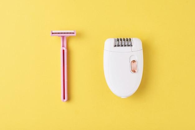 Épilateur et rasoir rasant jaune Photo Premium