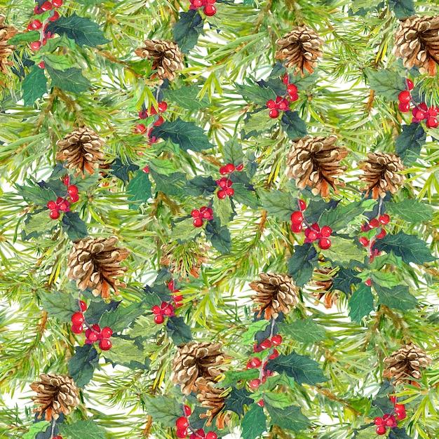 Épinette Branches, Cônes, Gui. Fond Sans Couture De Noël. Aquarelle Photo Premium