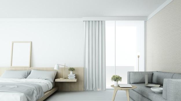 L'espace de chambre minimaliste intérieur en copropriété et décoration fond blanc Photo Premium