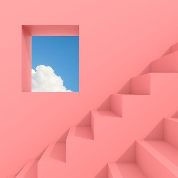 Espace De Construction Abstrait Minimal Avec Fenêtre Carrée Et Escalier Sur Ciel Bleu, Conception Architecturale Avec Ombre Et Ombre Sur La Surface Rose. Rendu 3d. Photo Premium