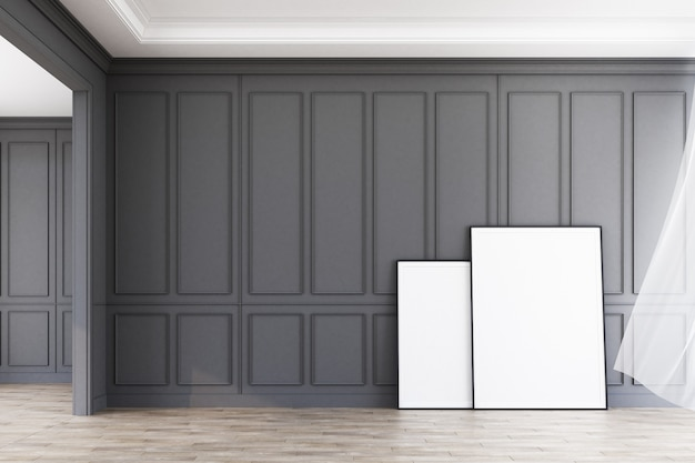 Espace intérieur moderne motif gris classique décorer le mur et le plancher en bois avec des illustrations rendu 3d Photo Premium