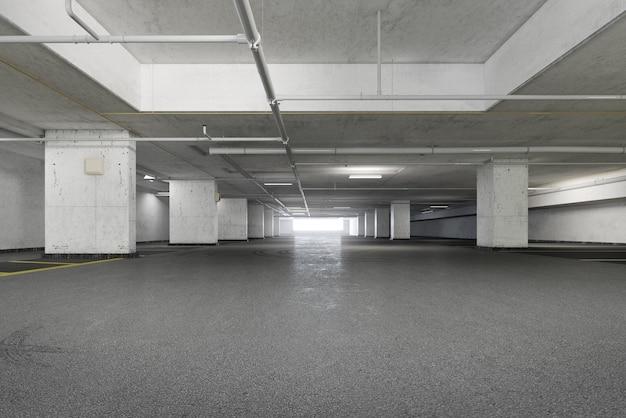 Espace De Stationnement Avec Style De Texture Grunge. Rendu 3d Photo Premium