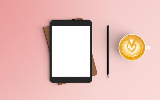 Espace De Travail Moderne Avec Tasse à Café, Ordinateur Portable Et Tablette De Couleur Rose Photo Premium