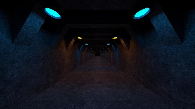 Espace Vide Avec Des Murs En Béton Et Des Lampes Sur Les Murs Photo Premium