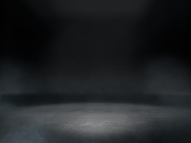 Espace Vide Pour Le Spectacle De Produit Dans Une Pièce Sombre Avec Une Tache Lumineuse Sur Le Fond. Photo Premium