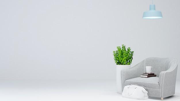 Espace de vie ou espace de détente sur fond blanc - rendu 3d Photo Premium