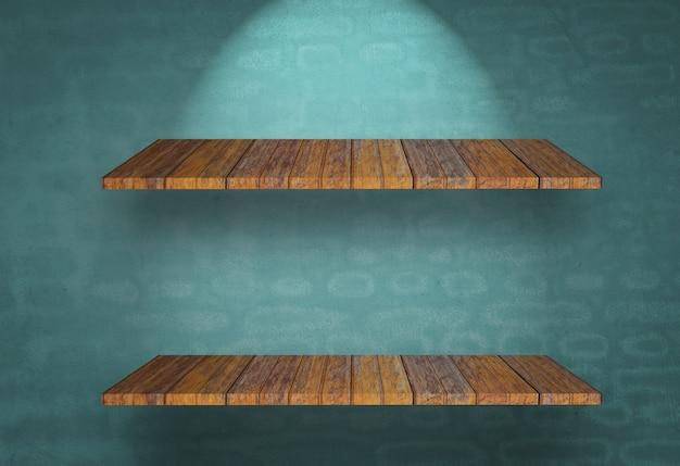 Étagère en bois sur un mur bleu Photo gratuit