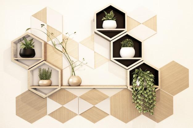 Étagère Hexagonale En Bois Japonais Sur Mur Photo Premium